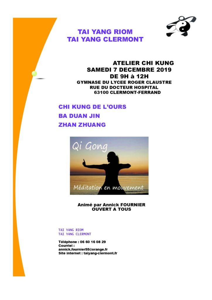 Affiche Stage de Chi Kung - Tai Yang Auvergne Clermont