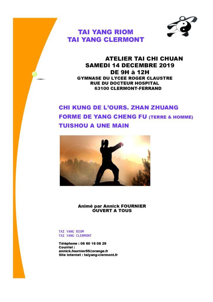 Affiche Stage de Tai Chi Chuan - Tai Yang Auvergne Clermont
